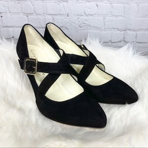 NEW Bettye Muller Suede Criss Cross Heels Pumps